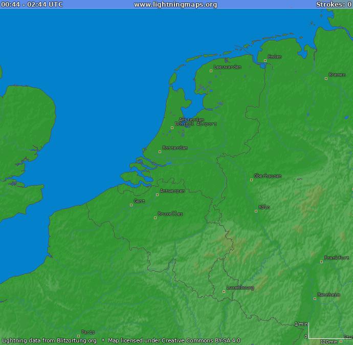 Onweerdetectie kaart Benelux